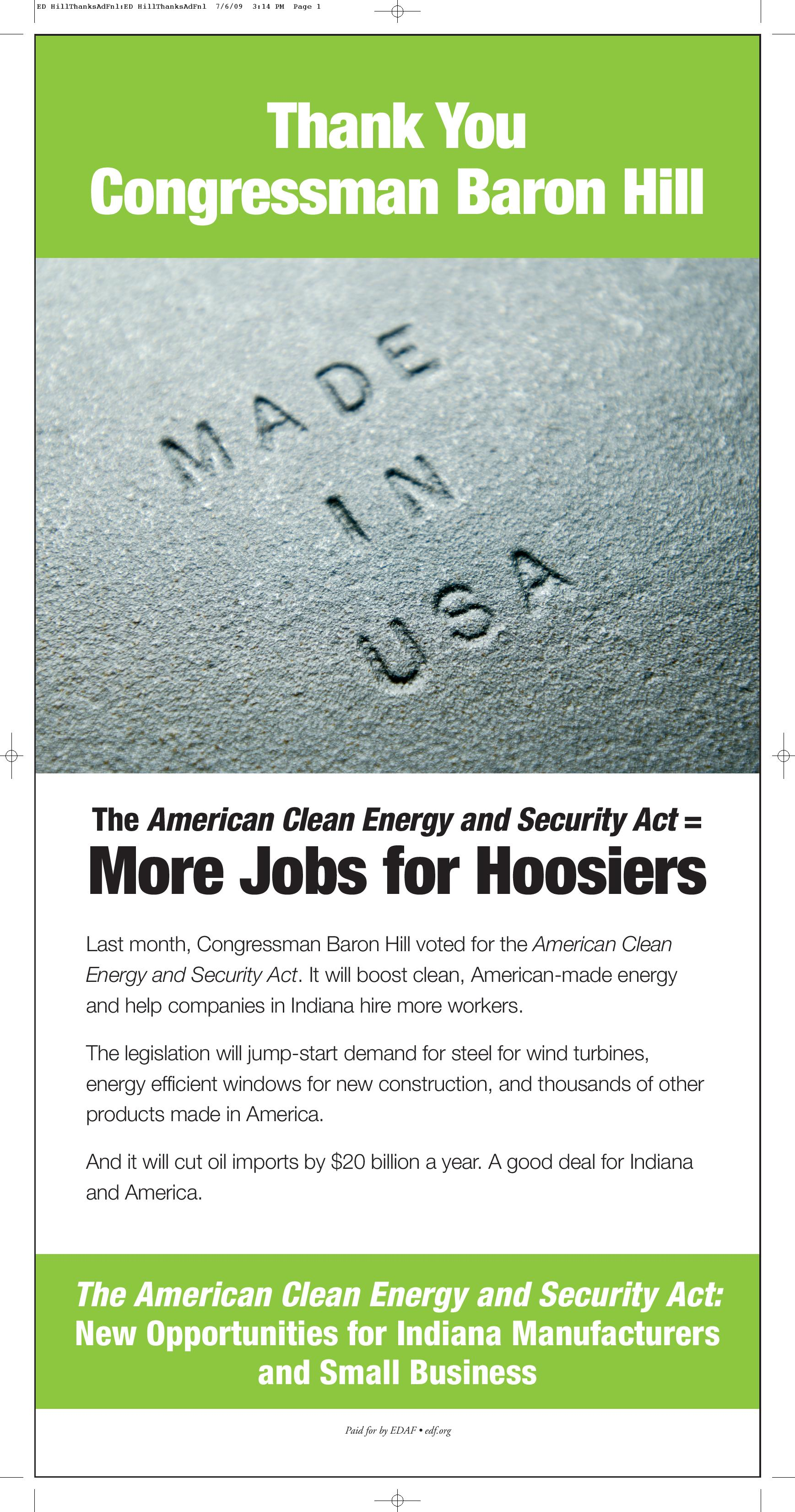 Thank You for Supporting the American Clean Energy and Security Act: Rep. Baron Hill