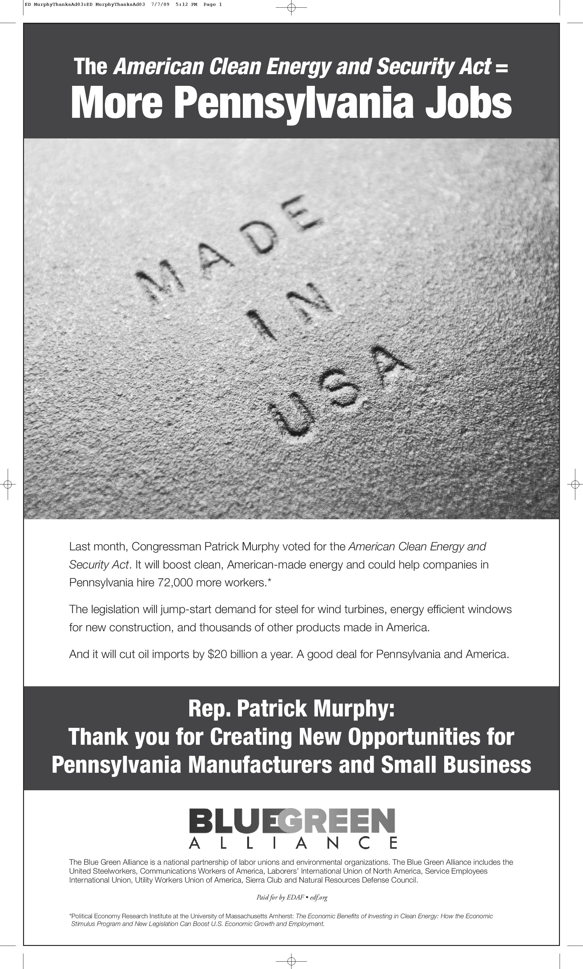 Thank You for Supporting the American Clean Energy and Security Act: Rep. Patrick Murphy