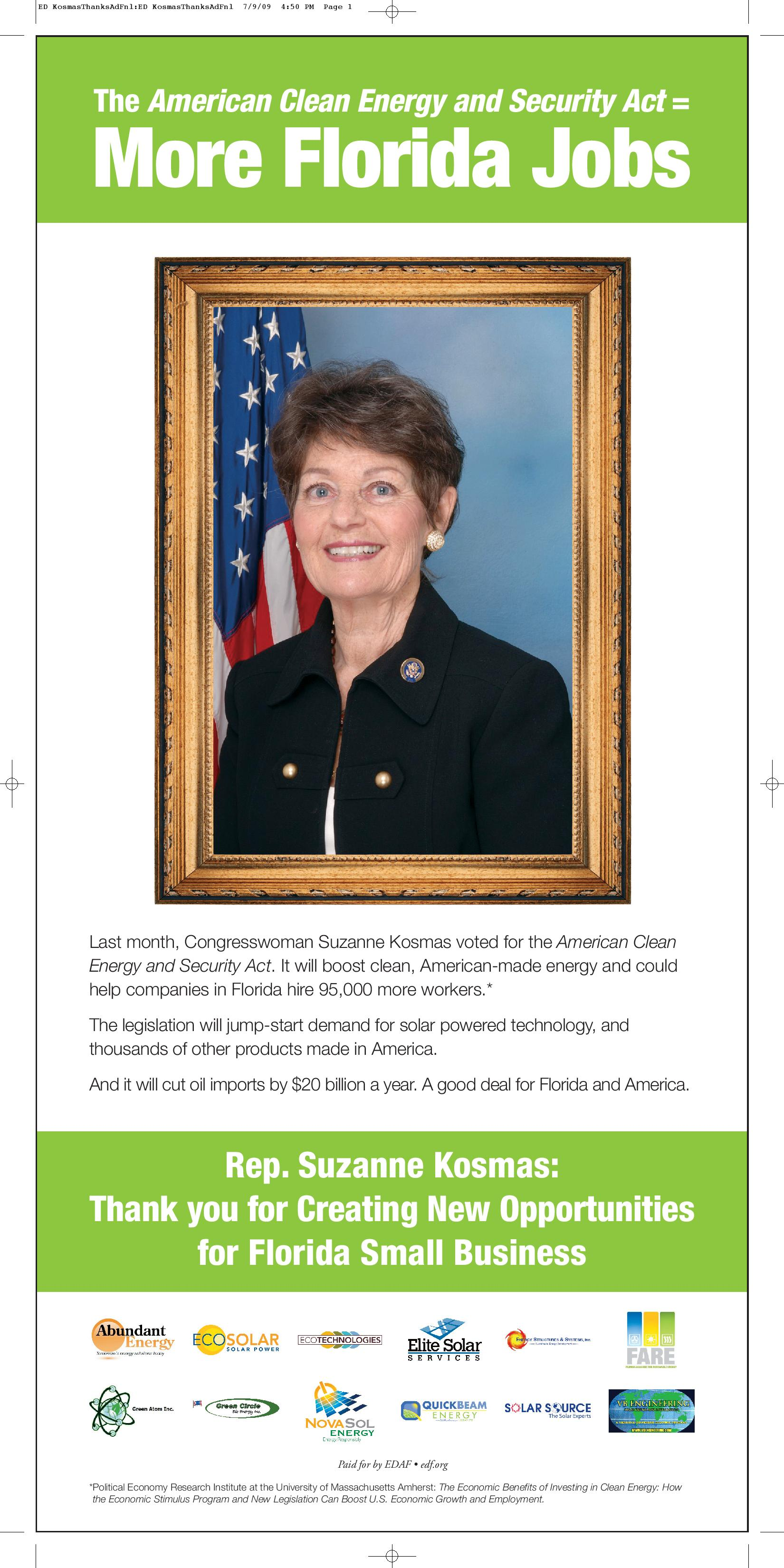 Thank You for Supporting the American Clean Energy and Security Act: Rep. Suzanne Kosmas