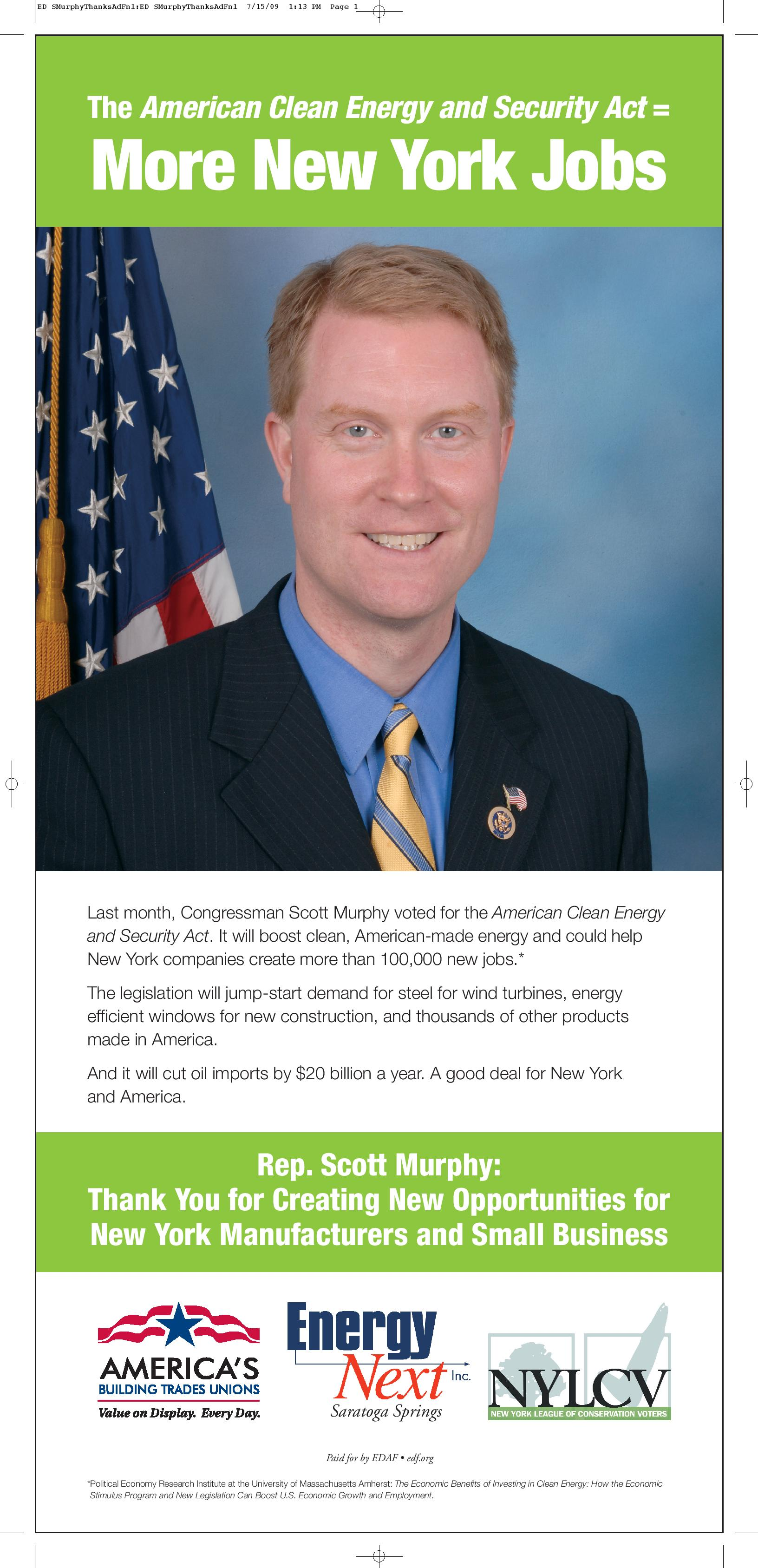 Thank You for Supporting the American Clean Energy and Security Act: Rep. Scott Murphy
