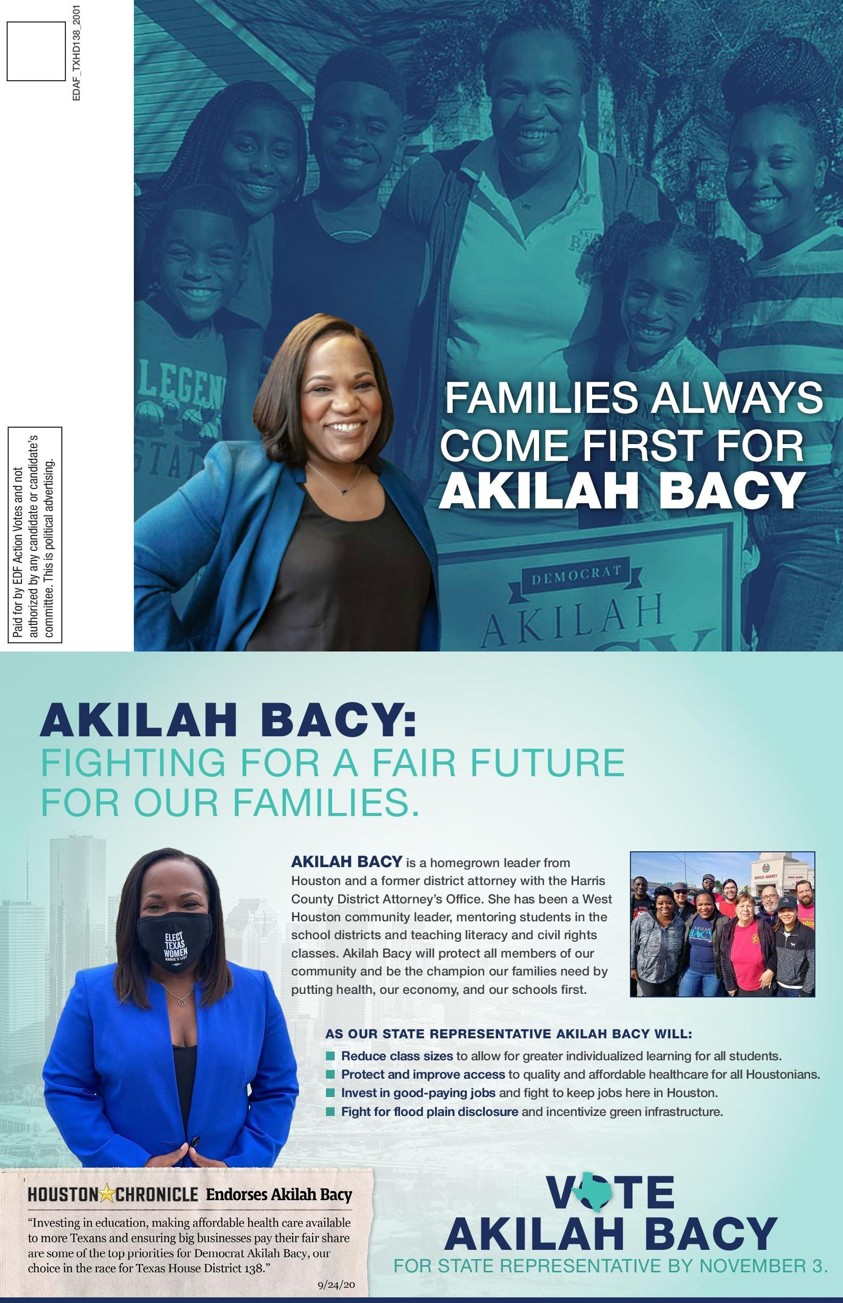Mail piece for Akilah Bacy