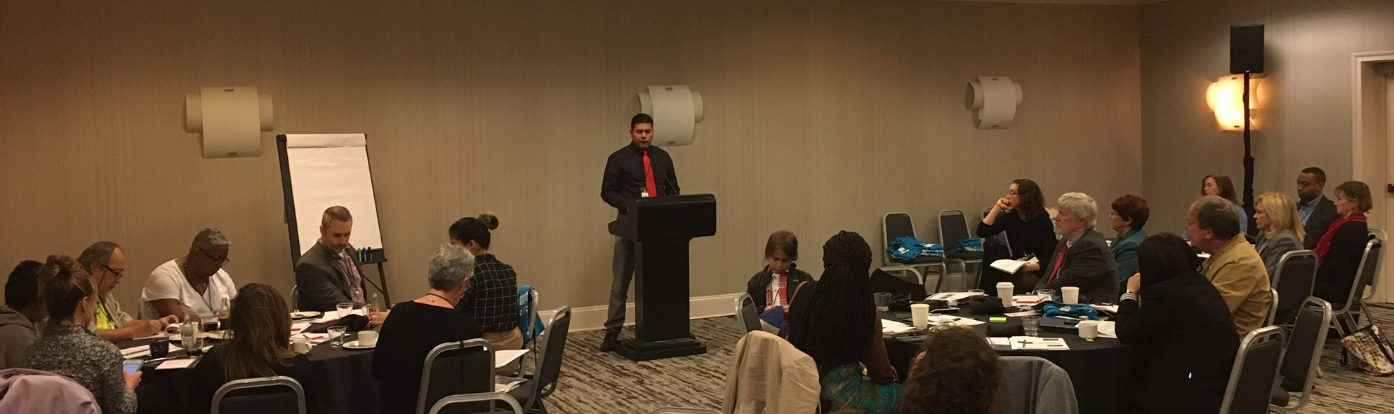 Derrick Toledo, representing the Western Leaders Network, briefing environmental allies about his work